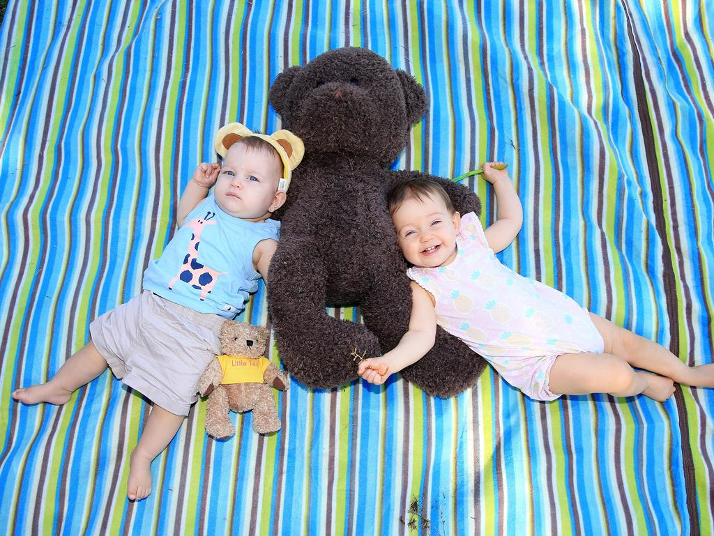 A Teddy Bears Picnic was held for under 5s as part of National Families Week.Lachlan Gillam(8 months) and Felicity Walters(9 months), enjoy the Teddy bears picnic at Kenrick Park, Gordonvale. PICTURE: JUSTIN BRIERTY