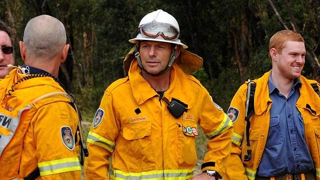 Tony Abbott pictured with the Davidson Rural Fire Service team / Picture: Dan Himbrechts