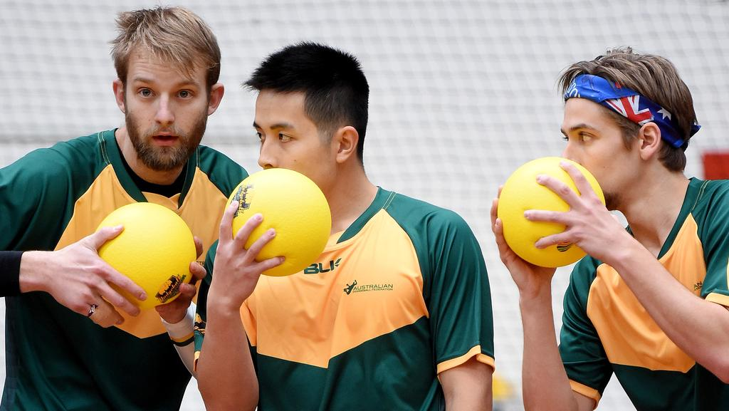 "'Alright boys, who do we nail next?"" The Australian mens team talk tactics at the World Dodgeball Championships at the State Hockey and Netball Centre. Picture: Nicole Garmston"