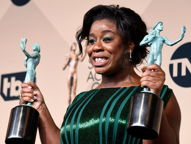 Uzo Aduba, winner of Outstanding Performance By a Female in a Comedy Series, poses in the press room. Picture: Getty Images