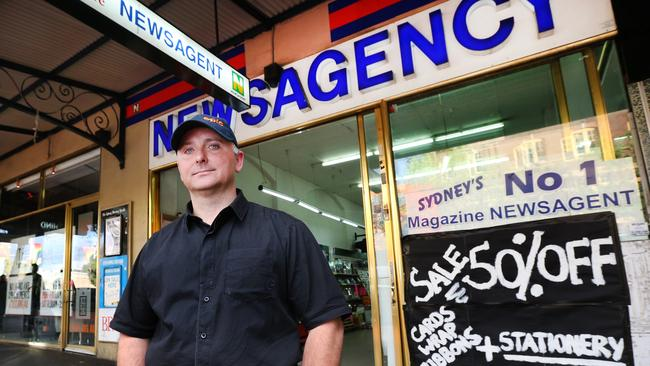 Mark Piggott, owner of Taylor Square Newsagency in Sydney, which closed its doors after 83 years last September due to decreased patronage blamed on the controversial lockout laws. Picture: Richard Dobson