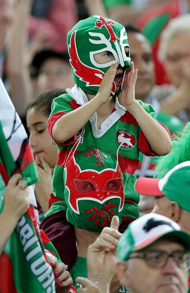 Young Souths fan during the South Sydney Rabbitohs v Sydney Roosters. Picture Gregg Porteous