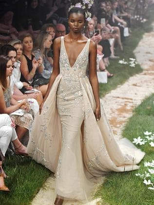 Model Akiima walks the runway at the Paolo Sebastian show for the Adelaide Fashion Festival. Picture: Tom Huntley