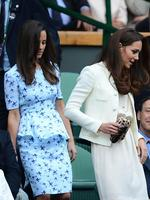 The stylish Middleton sisters arrive in the Royal Box before the men's singles final match between Murray and Federer on Centre Court for the 2012 Wimbledon Championships. Picture: AP