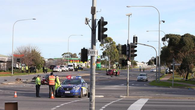 The scene of the fatal crash on the corner of Kings Road and Main North Road, Parafield. Picture: AAP Image/Dean Martin