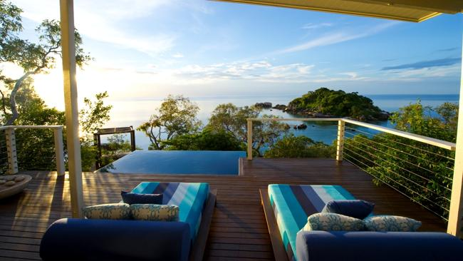 The Pavilion day beds and pool view on Lizard Island in Queensland. Picture: Supplied