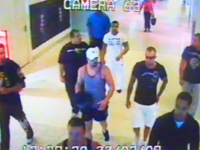 CCTV footage at Sydney Airport domestic terminal before the fatal Hells Angels and Comanchero brawl which sparked the new laws which have failed to curb gang violence. Picture: NSW Police.