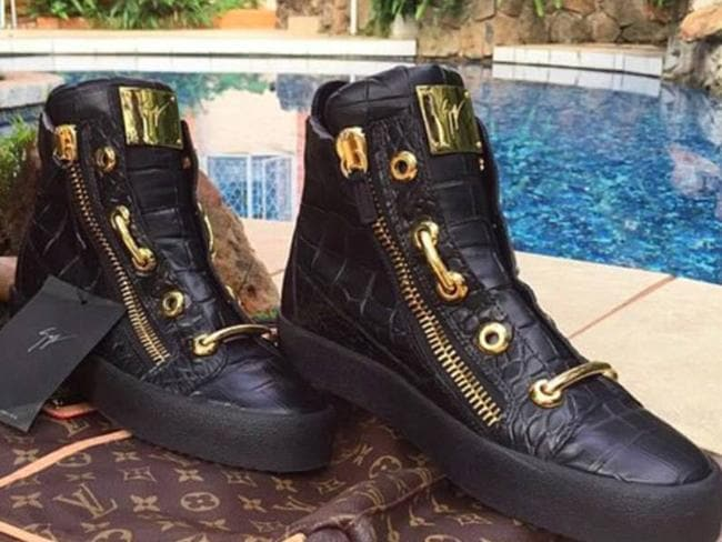 Robert Mugabe Jr posted a picture of these boots he said were worth thousands. Picture: Instagram