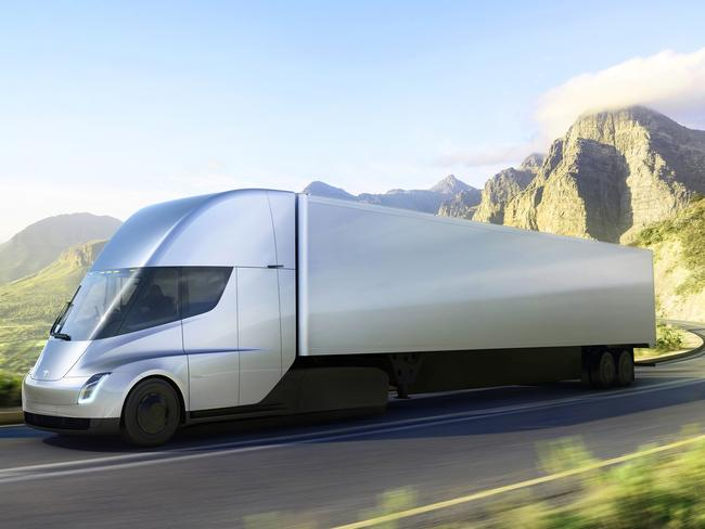 The new electric semitractor-trailer. Picture: Tesla via AP