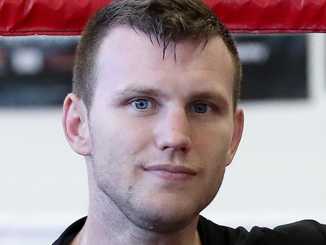 Boxer Jeff Horn during a session with trainer Glenn Rushton at Stretton Boxing Club. Pics Tara Croser.