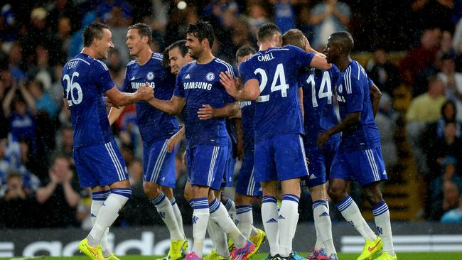 Chelsea's Diego Costa, centre, celebrates with his teammates.