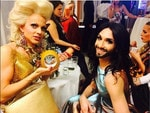 Australian performer Courtney Act appears backstage with performer Conchita at the Life Ball in Vienna. Picture: Instagram/Courtney Act