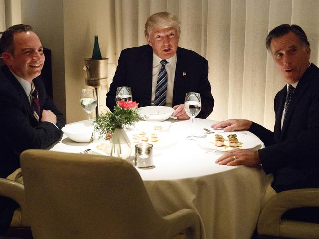 The former rivals were joined by the future White House chief of Sstaff Reince Priebus at Jean-Georges restaurant in Trump International Hotel, New York. Picture: Evan Vucci/AP