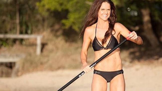 Fitness author Sharny Kieser stand-up paddle-boarding on the Sunshine Coast. Picture: Glen Bowden.