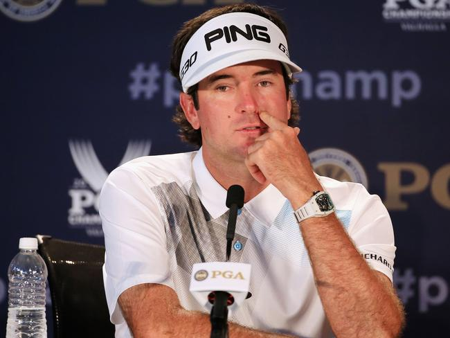 Bubba Watson has a scratch — not a pick — during a press conference.