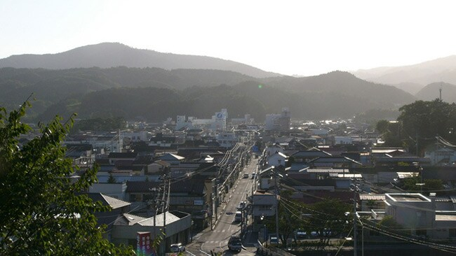 A view of the Minami Sanriku town with the hospital in the distance. Minami Sanriku tourism website