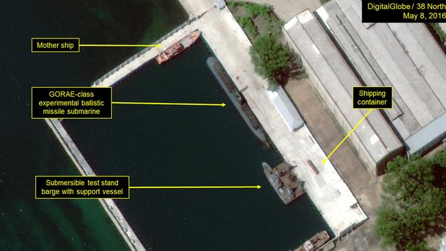 This picture, taken in 2016, suggests the North Koreans may have upgraded their sub fleet. Picture: DigitalGlobe/38 North via Getty Images