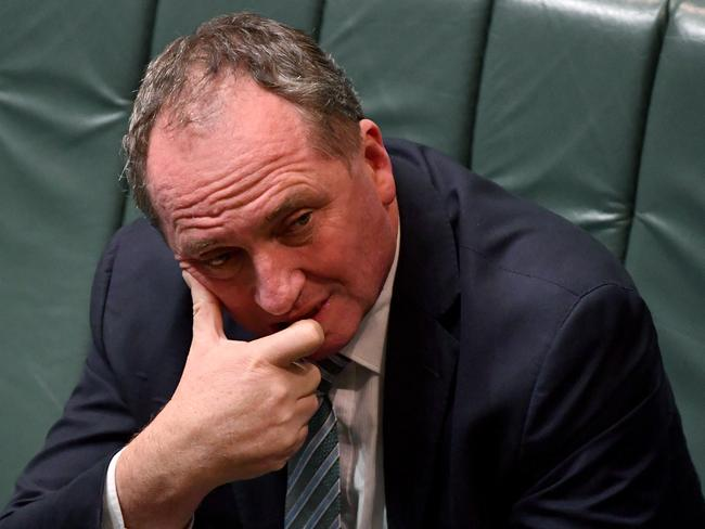 As his eligibility to sit in Parliament comes under question, Barnaby Joyce isn't laughing now. Picture: AAP