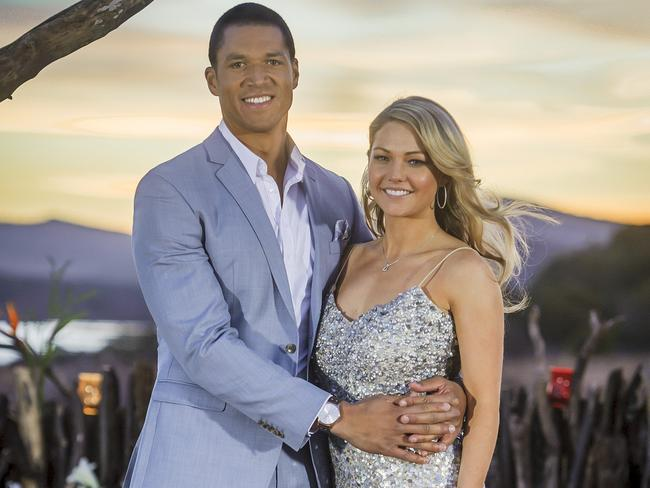 Blake Garvey and Sam Frost pictured during the show's finale.