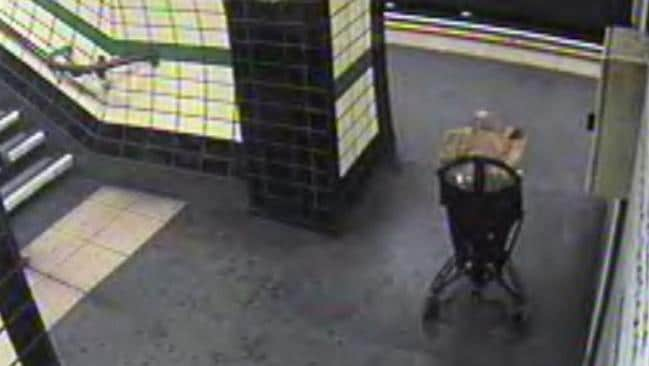 All alone ... the child in the pram at a London Underground station. Picture: British Transport Police