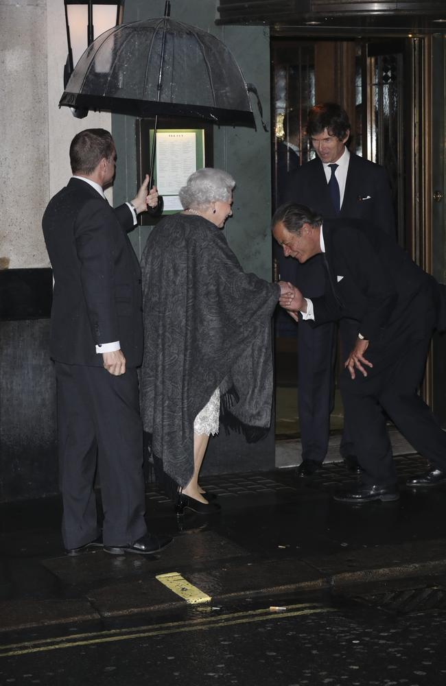 Queen Elizabeth II at the Ivy in London, where she was bowed to as she entered the trendy spot. Picture: Mega Agency