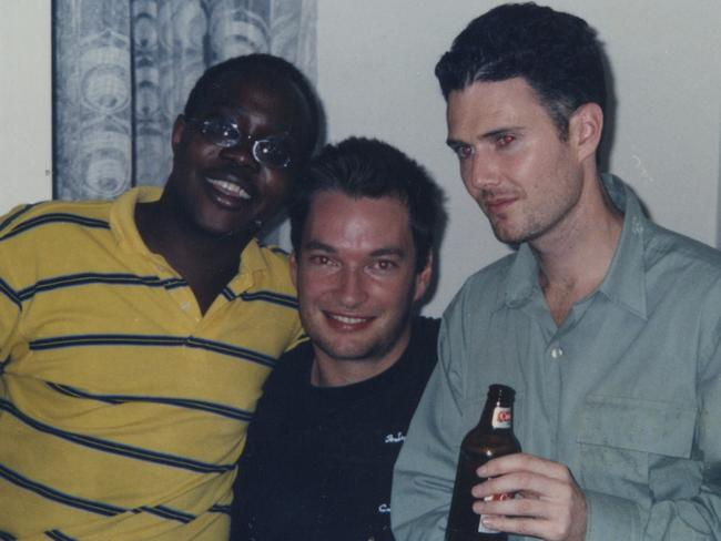 Austin, centre, with former drug smuggler Thomas McFadden and his schoolfriend and fellow author Rusty Young, who wrote Marching Powder.