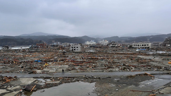 A view of Minami Sanriku after the disaster, from a different angle, but with the hospital in the distance. AFP