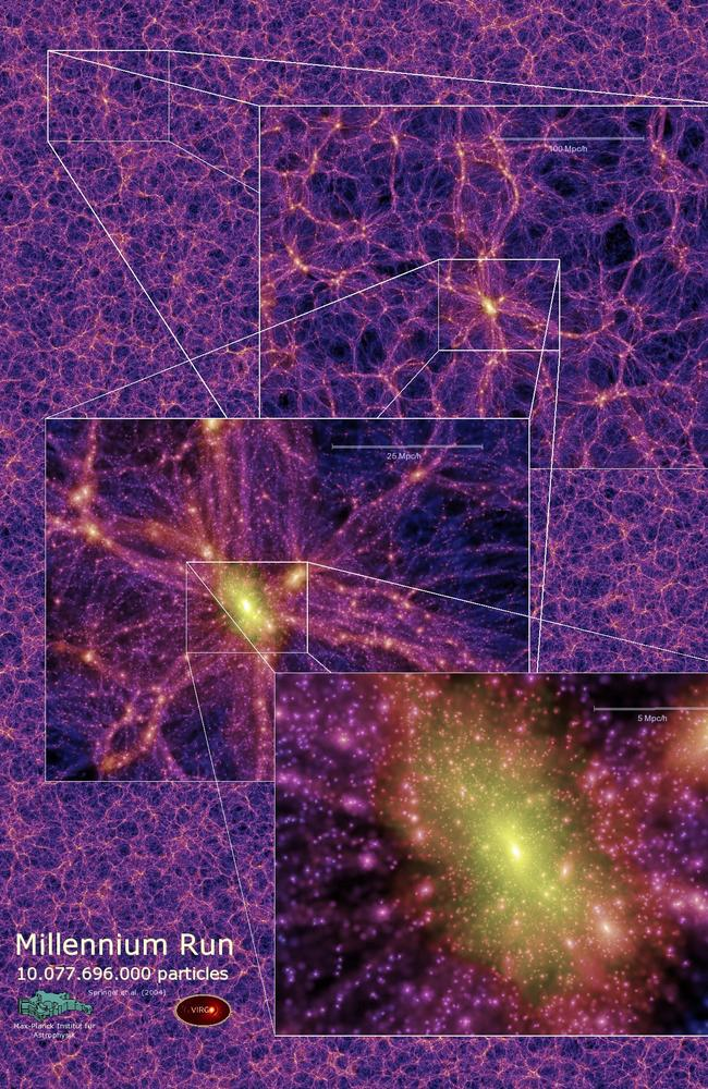 Intergalactic latticework ... Astronomers have recently discovered that the universe is arranged in an enormouse network of galaxy strings and nodes, all drawn together by invisible 'Dark Matter'.