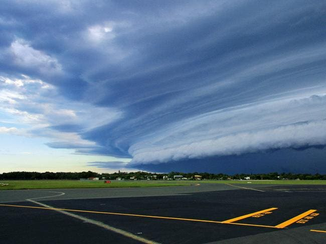 Dramatic ... Shelf cloud seen from Sunshine Coast Airport, Qld. Picture: Shane Loweke.