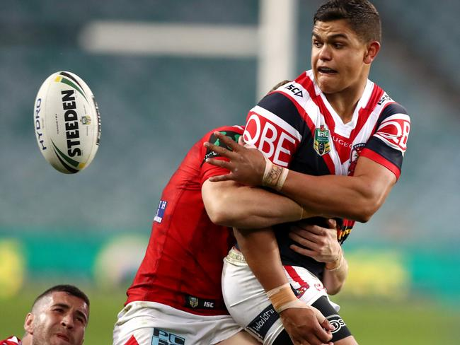 Latrell Mitchell in action for the Roosters. Picture: Gregg Porteous