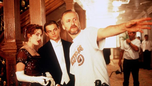 Kate Winslet and Leonardo DiCaprio with director James Cameron during the shooting of Titanic.