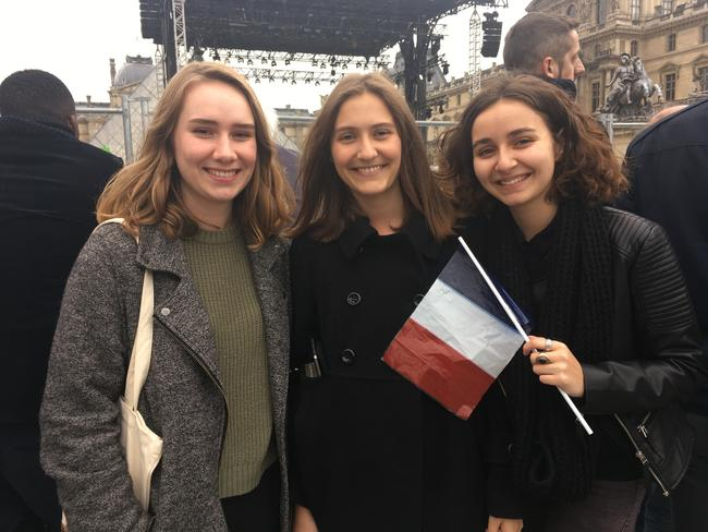 Young friends Cecile, Pauline and Gina volunteered for Mr Macron's team and said they liked his lack of corruption and fresh approach. Picture: Victoria Craw, news.com.au.