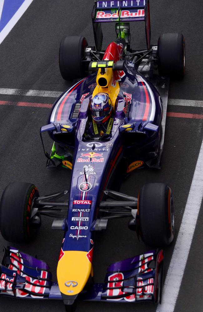 Daniel Ricciardo leaves the pits during practice for the British Grand Prix.