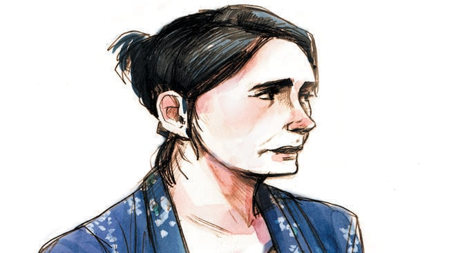 Court drawing of Toni McHugh from the Gerard Baden-Clay murder trial. Artwork — Jonathan Bentley