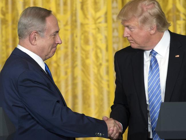 Israeli Prime Minister Benjamin Netanyahu (left) and US President Donald Trump meet at the White House. Picture: AFP/Saul Loeb