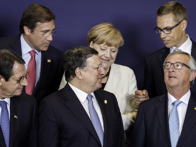 EU leaders ... (front, left to right) Cypriot President Nicos Anastasiades, European Commission President Jose Manuel Barroso and European Commission President elect Jean-Claude Juncker. (Back row left to right) Portuguese Prime Minister Pedro Passos Coelho, German Chancellor Angela Merkel and Finnish Prime Minister Alexander Stubb.
