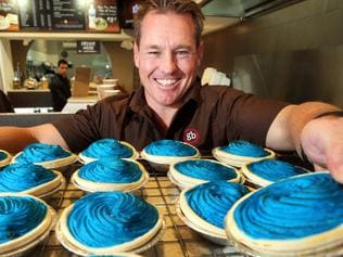 Former East's and South's Rugby league captain Sean Garlick selling blue pies for State of Origin at his bakery in Mascot, Sydney.