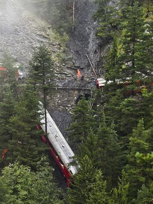 One carriage plunged into a ravine. Picture: Michael Buholzer