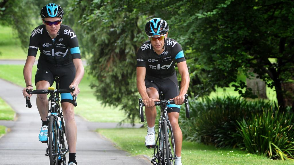 Cycling stars richie porte and chris froome ready to ride for Richie porte cyclist