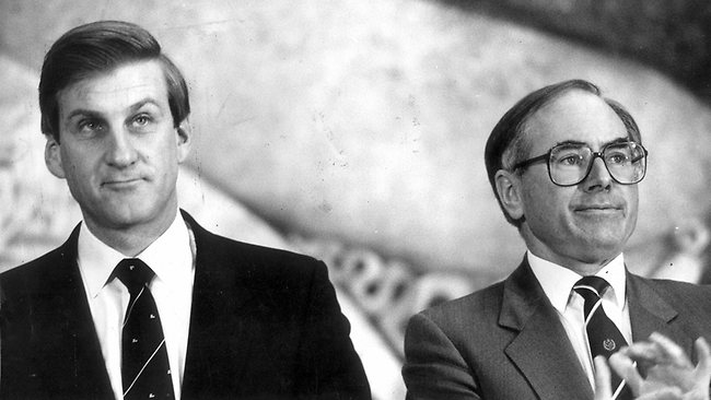 Jeff Kennett with John Howard at a conference together in 1987.