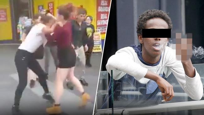 Teenage girls fight in a Blacktown shopping centre and right, a teen smokes and makes rude gestures.