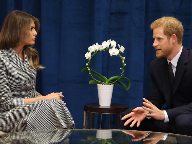 Prince Harry meets with US First Lady Melania Trump. Picture: Getty