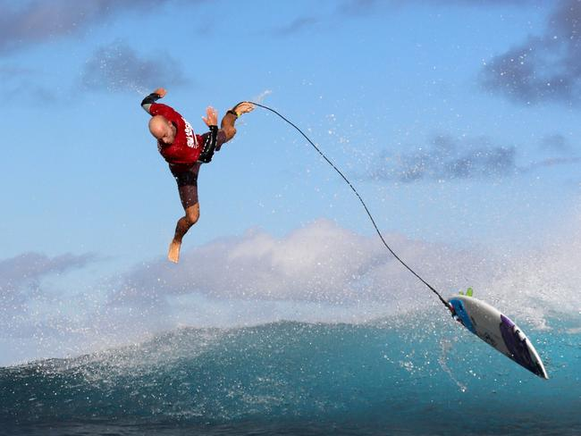 Australian surfer Nathan Hedge is thrown off the powerful break.