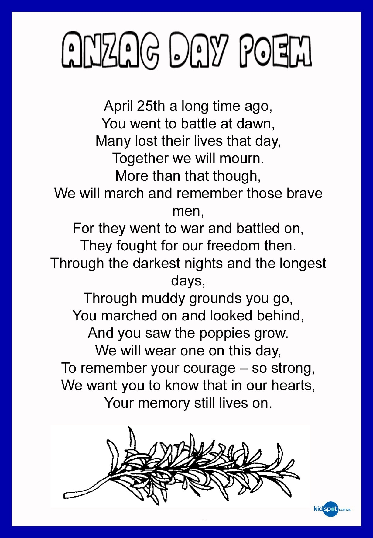 thank a digger anzac poems to pass on kidspot