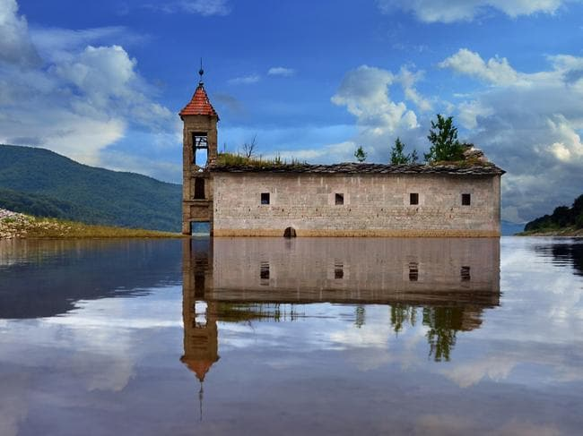 The dramatic ruins sit proudly on the artificial lake. Picture: Rilind Hoxha.