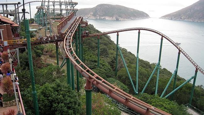 An ocean view at Ocean Park... not that you'd notice on this roller coaster. Picture: Flickr pnoeric