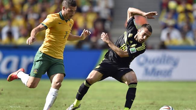 Spain's Jordi Alba, right, and Australia's Mathew Leckie was again dangerous.
