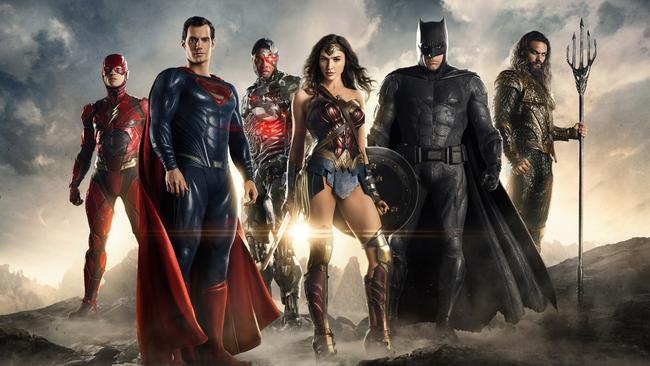 Miller as The Flash (far left), will be attempting to save the DC film world with the rest of the Justice League this year. Picture: Warner Bros