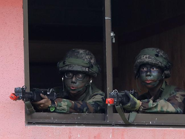 South Korean soldiers from 26th infantry division take part during the Warrior Strike VIII exercise in Pocheon this week. Picture: Chung Sung-Jun/Getty Images
