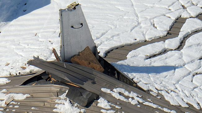 Roof collapse... Heavy snow caused Nippi Corp.'s hangar in Yamamo, near Tokyo, to cave in. Picture: AP